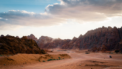 Desert with mountains at sunset. Egypt.