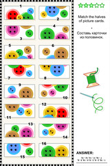 Visual riddle - match the halves - colorful buttons