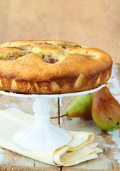 homemade sponge cake with pears and cinnamon