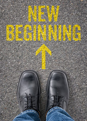 Text on the floor - New beginning