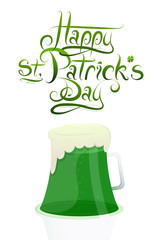 Saint Patricks Day greeting card design with green beer glass