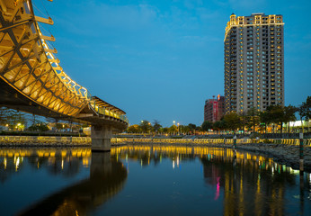 heart of Love River in Kaohsiung City at night