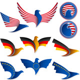Bird Fly Flag Sign Symbol Insignia Medal United States Germany poster