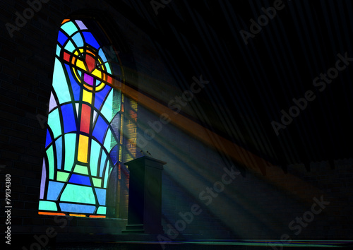 Stained Glass Window Church - 79134380