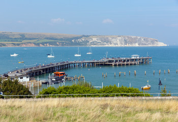 Swanage pier and jetty Dorset England UK summer day