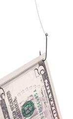 dollar bill on a hook