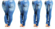 Leinwanddruck Bild - Woman in blue jeans isolated on white background