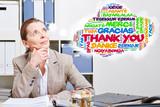 Alte Frau denkt an Thank You