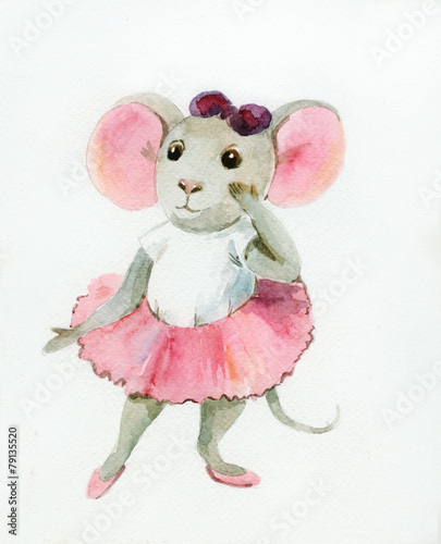 Watercolor painting of gray mouse-ballerina - 79135520