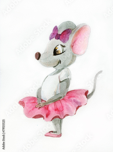Watercolor painting of gray mouse-ballerina - 79135525