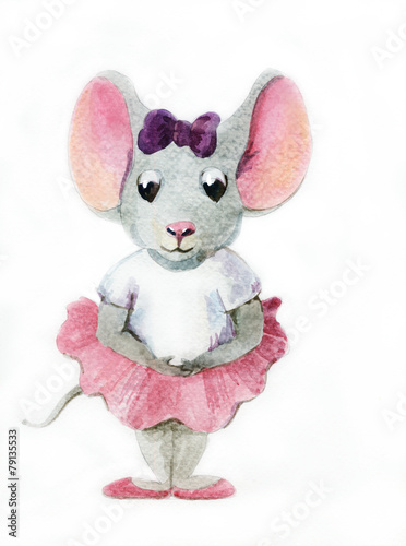Watercolor painting of gray mouse-ballerina - 79135533