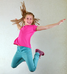 pretty girl  jumping high and dancing
