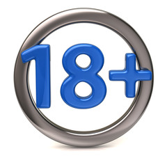 Blue 18+ icon