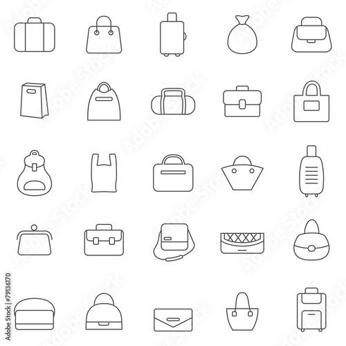 Bag line icons set.Vector - 79136170