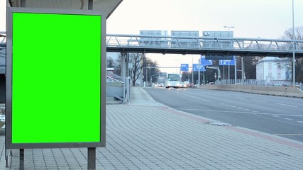 billboard in the city - green screen -road with cars - timelapse