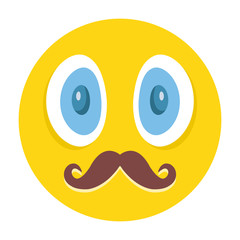 Awesome emoticon with mustaches vector illustration