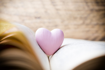 Pink heart of the book. Greeting cards.