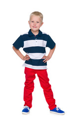 Fashion young boy in the red pants