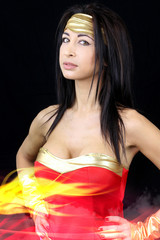 brunette woman dressed as superhero