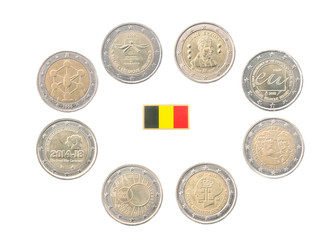 Set of Commemorative 2 euro coins of Belgium isolated on white