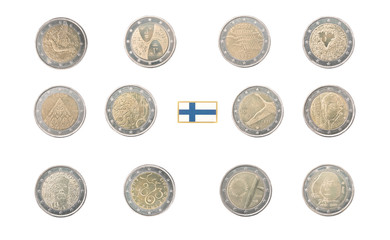 Set of Commemorative 2 euro coins of Finland isolated on white