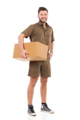 Courier with a carton box