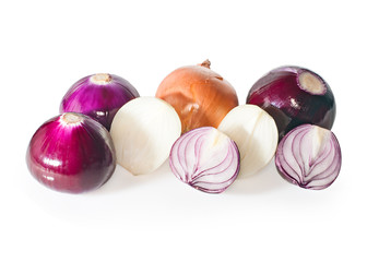 Red and golden onion isolated on white.
