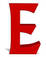 kırmızı renkli e harfi