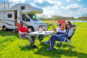 Family vacation, RV (camper) travel with kids in motorhome