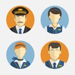 Avatar people icons. Professions pilots in uniform - 79141911
