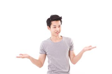 man shrugging, white isolated background