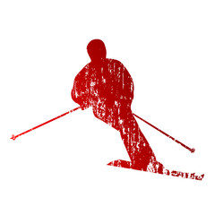 Red abstract skier