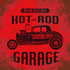 Retro Hot Rod poster, vector
