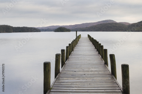 Wooden jetty  in the lake district - 79143573