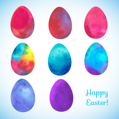 Easter watercolor background  with eggs
