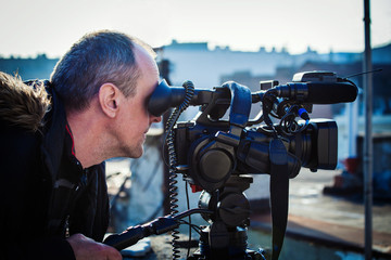 cameraman shooting outdoor