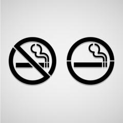 No smoking and Smoking area labels, vector illustration