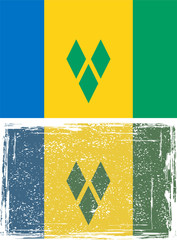 Saint Vincent and the Grenadines grunge flag. Vector