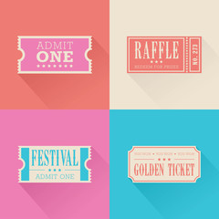 A set of festival themed tickets