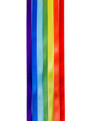 rainbow ribbons, gay LGBT sign is isolated on white background,