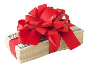 Money gift. Money bonus. Stack with money