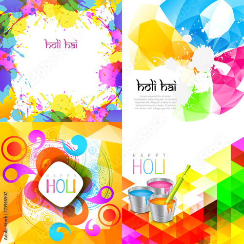 Poster Vormen collection of holi background