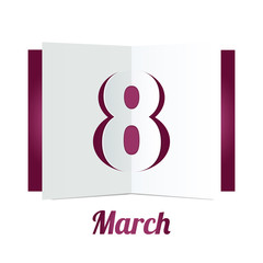8 March Womens Day paper gift box on white background. Vector