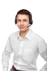 Portrait of male customer service representative or call centre