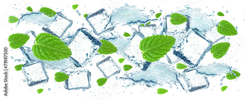 Fototapeta water and ice cubes splash