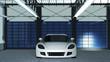 Sportwagen in einer Werkhalle