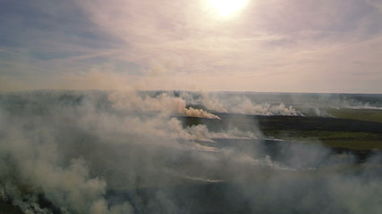 burning grass in  steppe  with   smoke and sun . Aerial shot.