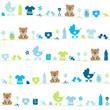 Seamless Pattern Baby Symbols Teddy Boy