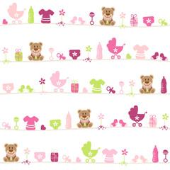 Seamless Pattern Baby Symbols Teddy Girl