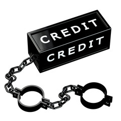 Finance concept: Black shackles with word credit